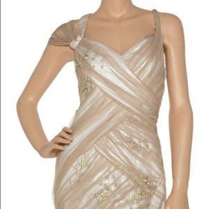 Nude Asymmetrical Draped Dress